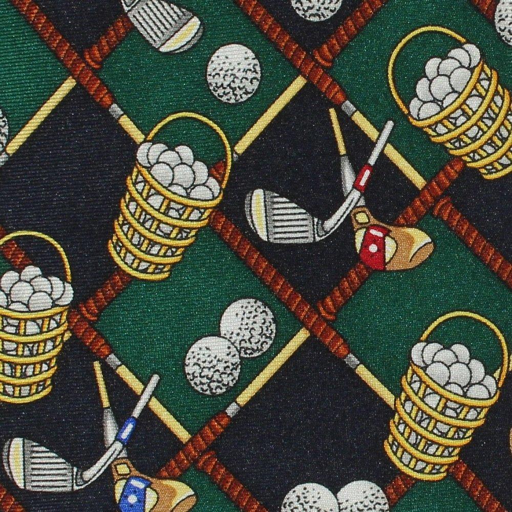 Bucket Of Balls Necktie Mens Long Tie Golf Clubs Green Blue Silk Alynn Neckwear 60