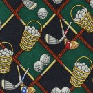 Bucket Of Balls Necktie Mens Long Tie Golf Clubs Green Blue Silk Alynn Neckwear 60