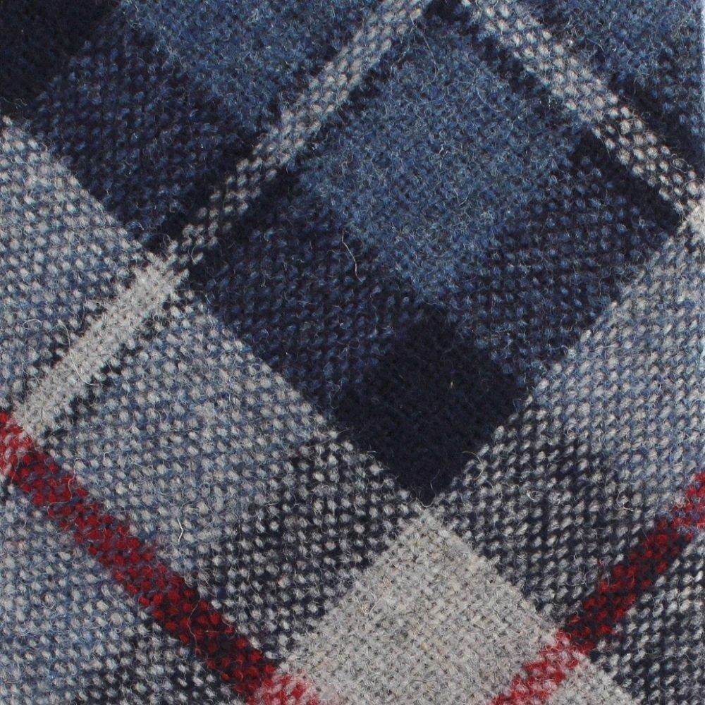 Wembley Vintage Necktie Wool Plaid Skinny Tie Preppy Old School Blue Red Gray