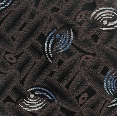 Don Loper Beverly Hills Vintage Necktie Tie Black Tan Blue Retro Mod Abstract