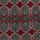Extra Long Silk Necktie 63 Inch Tie Italy Pavia Art Nouveau Scrolls Maroon Silver Gold