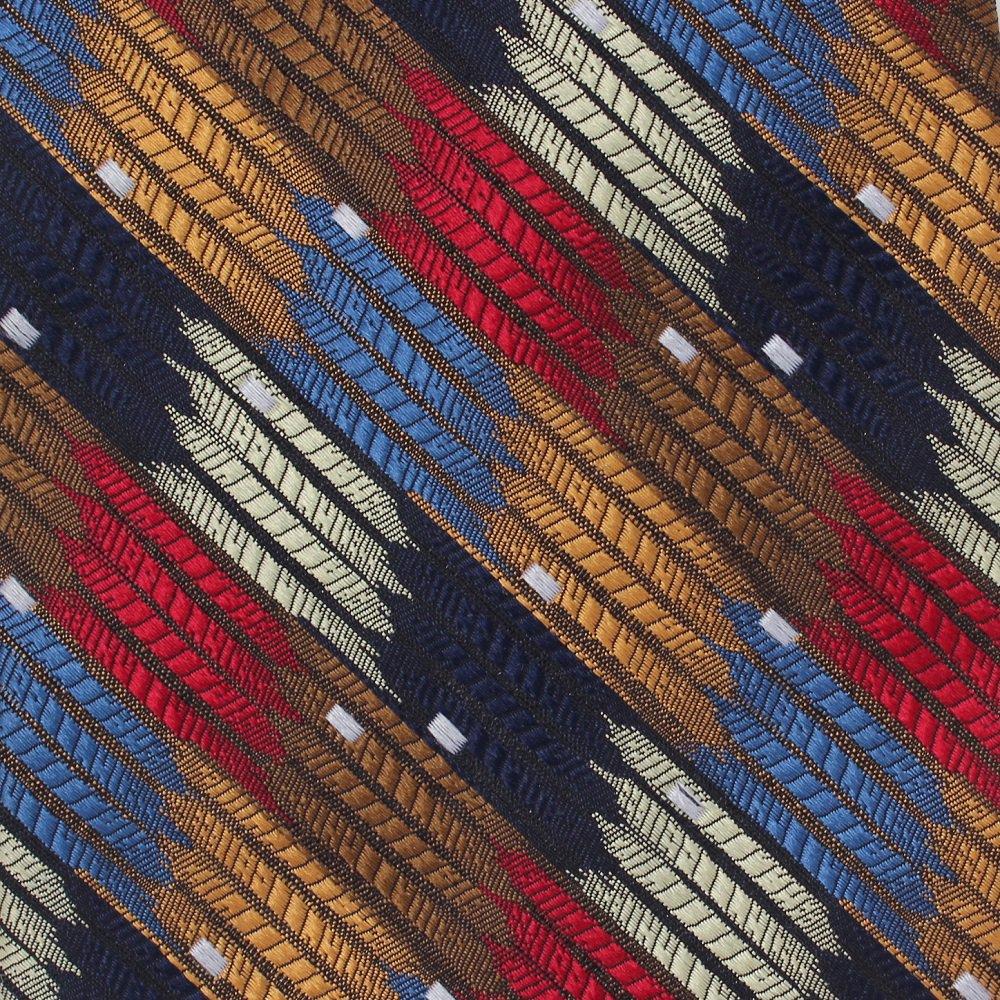 DeSantis Silk Necktie Extra Long Tie 62 Big Tall Italy Woven Mod Stripe Blue Copper Bronze