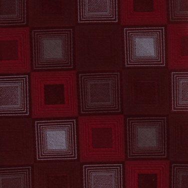 Murano Silk Extra Long 61 Necktie Mens Tie Red Crimson Silver Squares Mod Checker Board