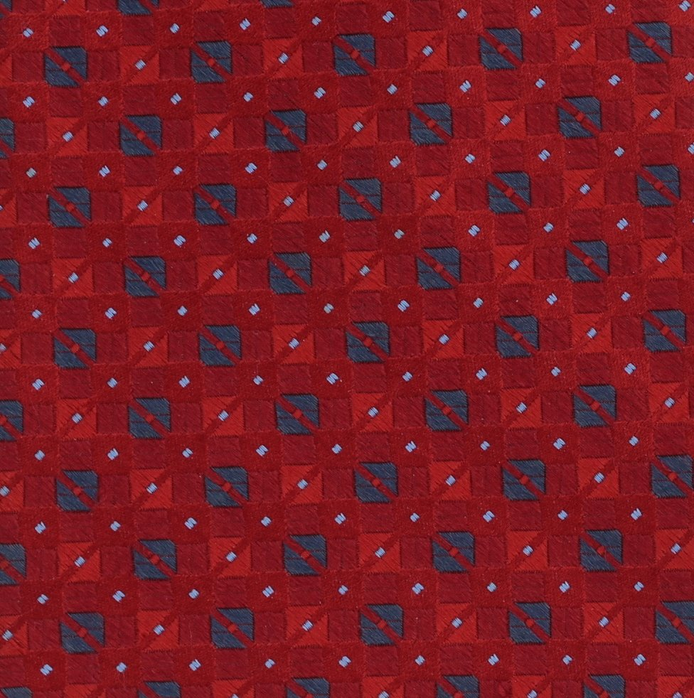 Jones New York Woven Silk Necktie Mens Extra Long 60 Tie Red Blue Dots Square