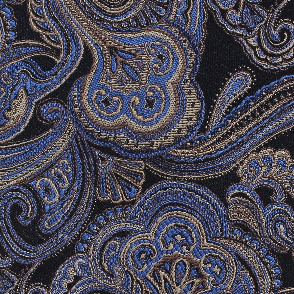 Bocara Woven Silk Necktie 60 Extra Long Blue Gold Paisley Brocade Mens Tie