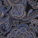 Bocara Woven Silk Necktie 60 Extra Long Blue Gold Paisley Brocade Mens Tie