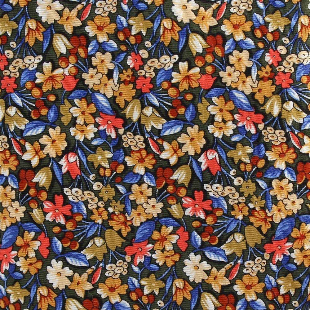 Embassy Row Floral Tie Silk Gold Blue Orange Flowers England Executive