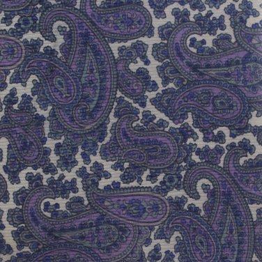 Oleg Cassini Silk Paisley Necktie Blue Purple Gray 57 Mod Designer Fashion