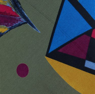 Mens Italian Silk Necktie Abstract Dots Triangle Brushstroke Teal Olive Green Sha'Re Vintage