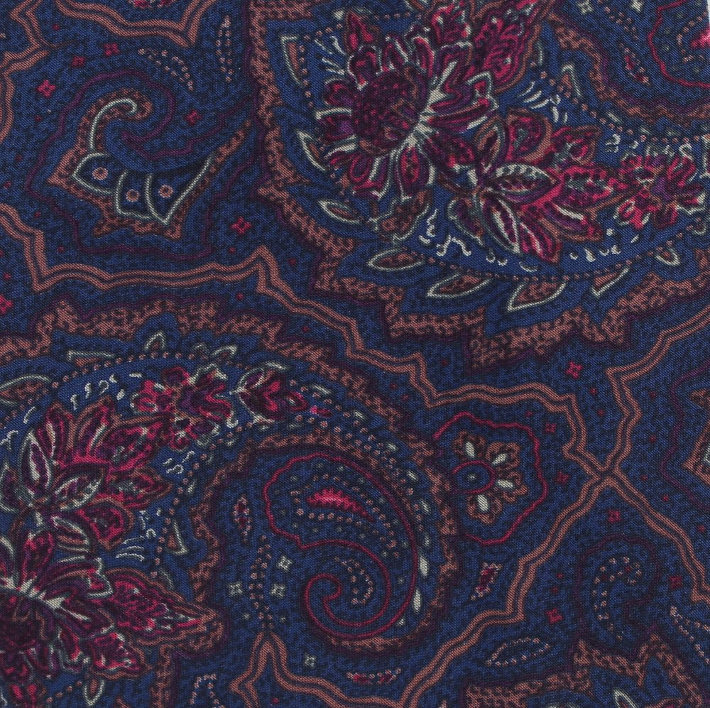 "Bergdorf Goodman Silk Necktie 59"" Mens Tie Spain Blue Cranberry Paisley"