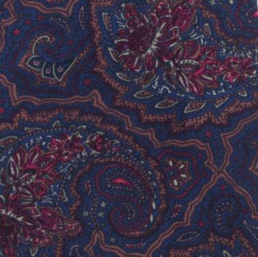 "Bergdorf Goodman Silk Necktie 59"" Mens Tie Spain Blue Cranberry Paisley"