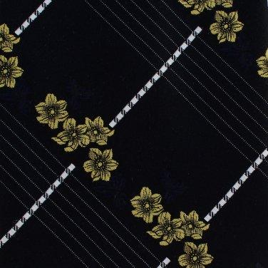 Christian Dior Cravates Vintage 70s Necktie Mens Tie Black Gold Flower White Stripe Short 52 Inch
