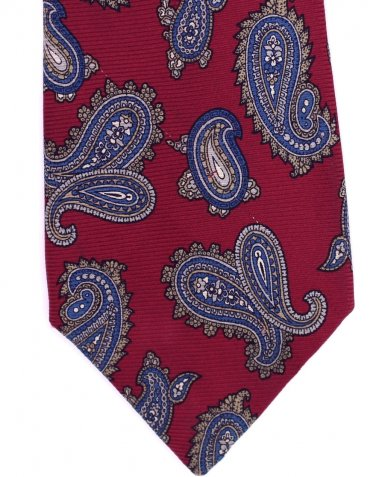 Johnny Carson Necktie Silk Vintage Paisley Tie Skinny Narrow Crimson Blue Gold 57