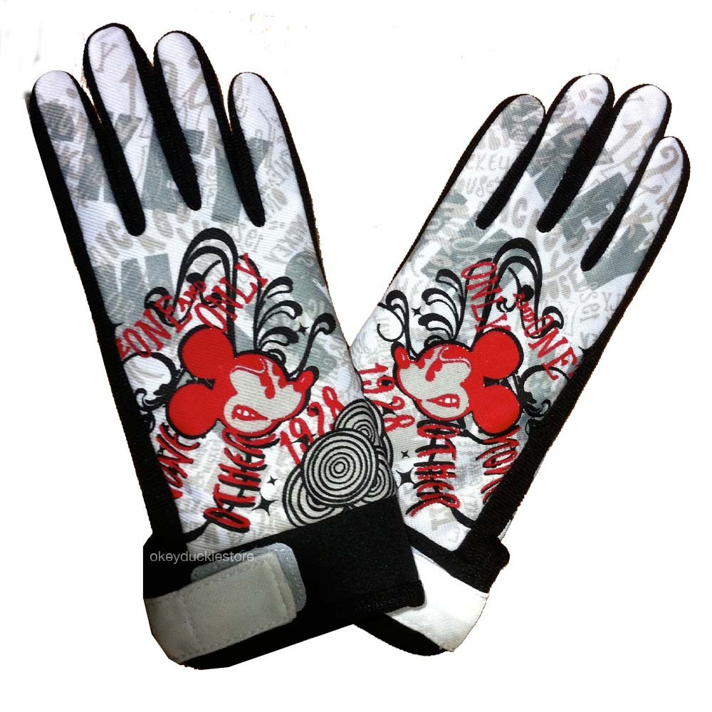FREE SHIP Disney Mickey Mouse Graphic Biker Gloves - Youth Kids Size