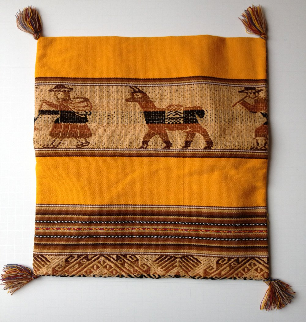 Made in Peru Ethnic Cushion Cover Llama Cholo Canvas Embroidered Fafric Yellow/Brown