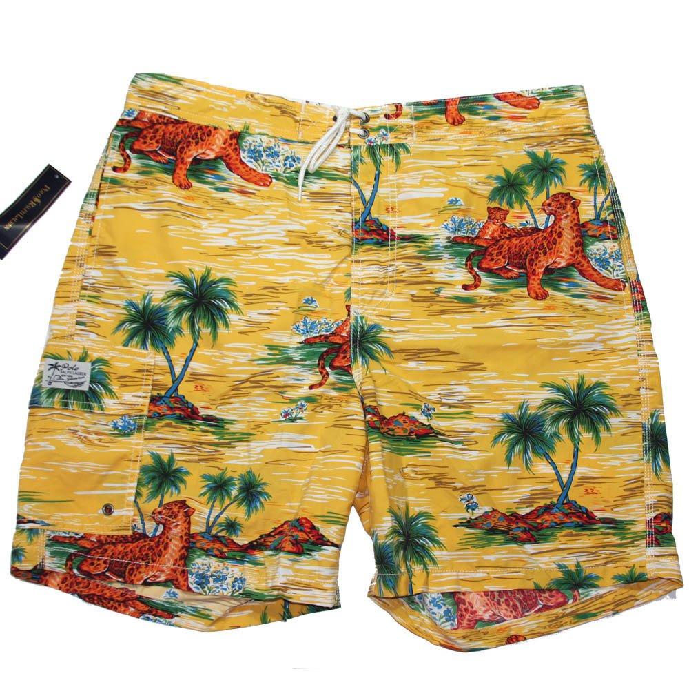 Men's L Polo Ralph Lauren Swimwear Board Shorts Trunks Leopard Palm