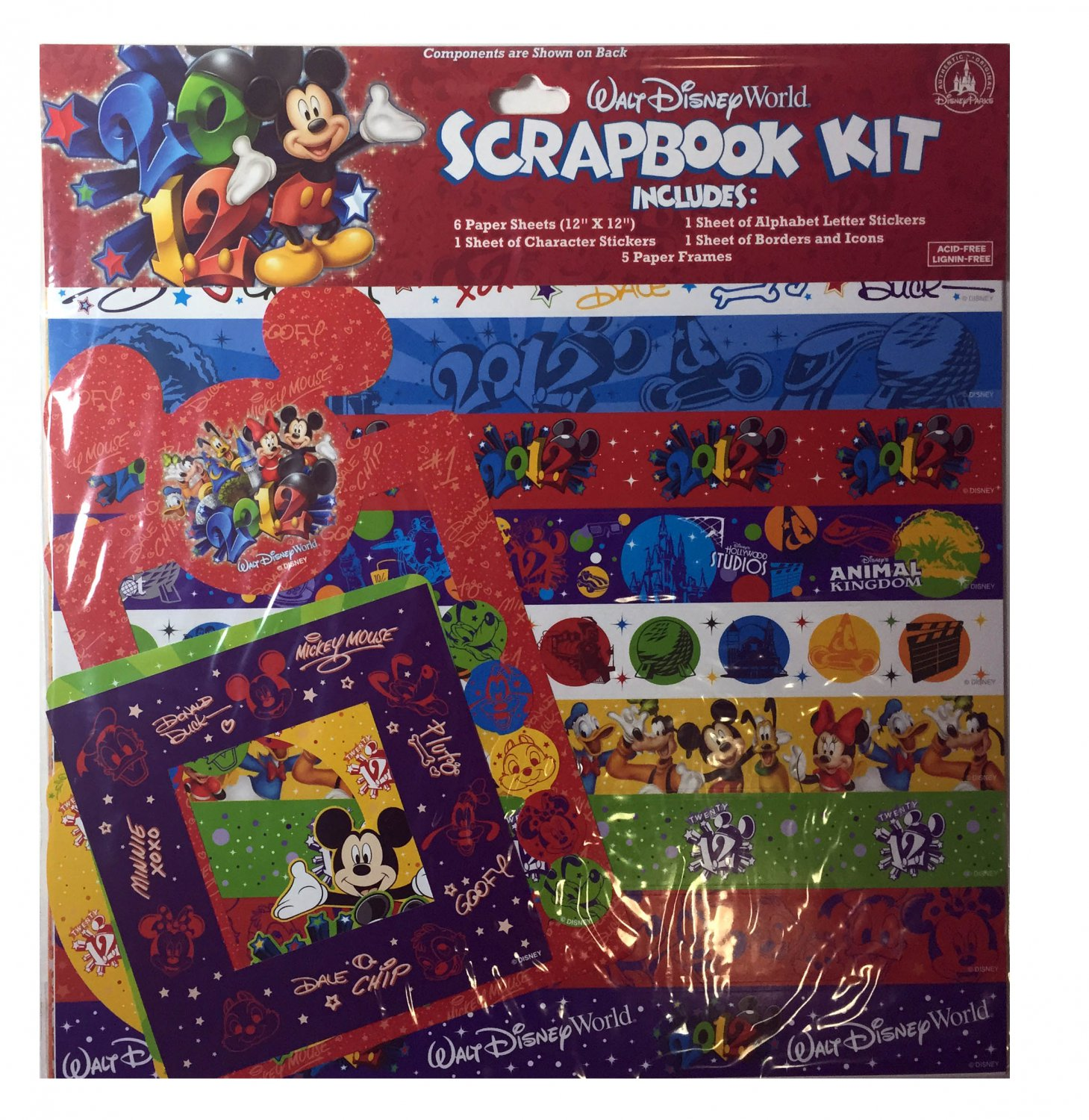 14Pc 2012 Walt Disney World Mickey Friends Scrapbook Kit
