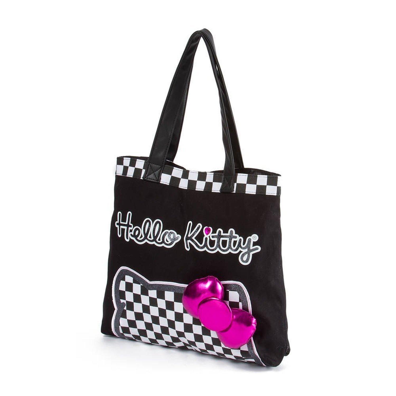 Hello Kitty Checkered Large Tote Bag Kawaii School