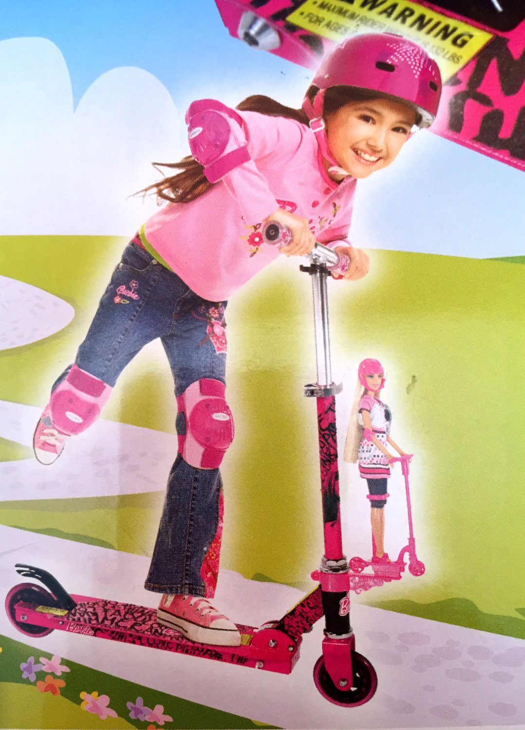 Barbie Super Cute Folding Scooter Pink/Black Hot Toy Girls Gift Ages 5+