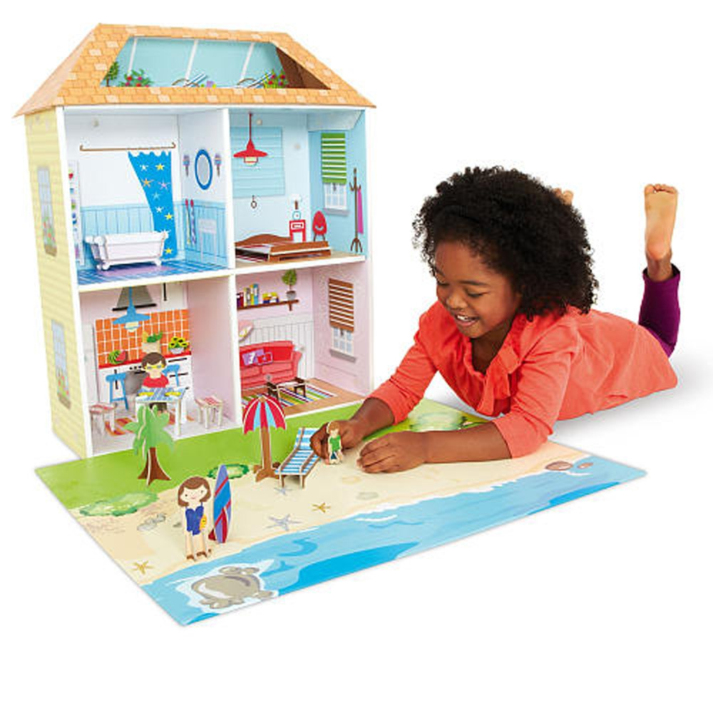 14 Pcs Imaginarium SURFSIDE BEACH HOUSE with Playmat Pretend Play Girls Gift 3+