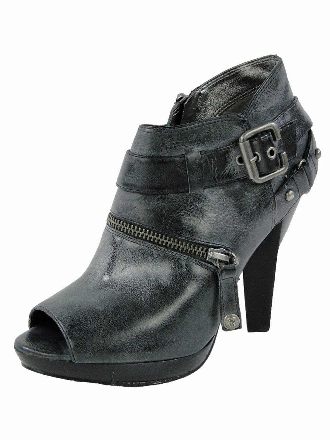 Size 10 M Guess Women's Oakridge Gray Leather Open Toe Heel Booties