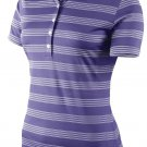 Nike Women's Tech Stripe Golf Polo Shirt Purple Size Large 452968-541