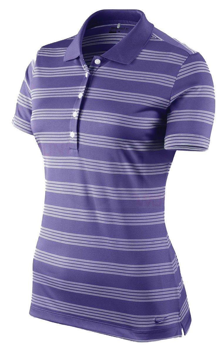 Nike Women's Tech Stripe Golf Polo Shirt Purple Size Medium 452968-541