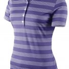 Nike Women's Tech Stripe Golf Polo Shirt Purple Size Medium 452968-541