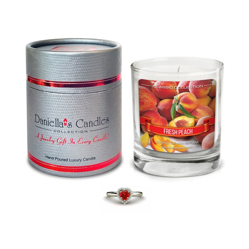 Peach Jewelry Surprise Candle by Daniella's Candles