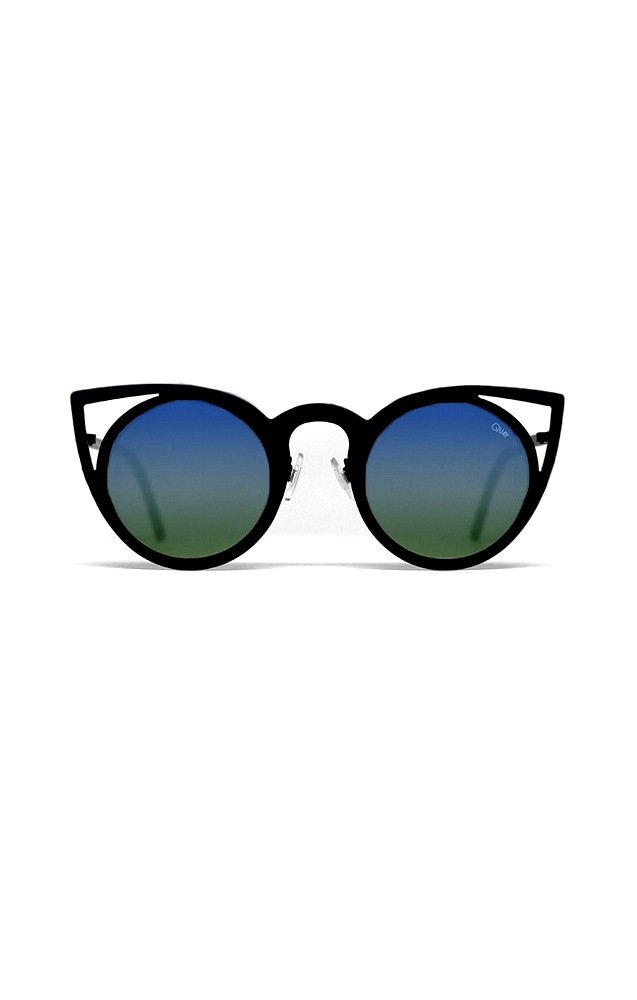 Sunglasses Quay INVADER TEAL 7.55 Women Black Cat-eye Blue Mirrored