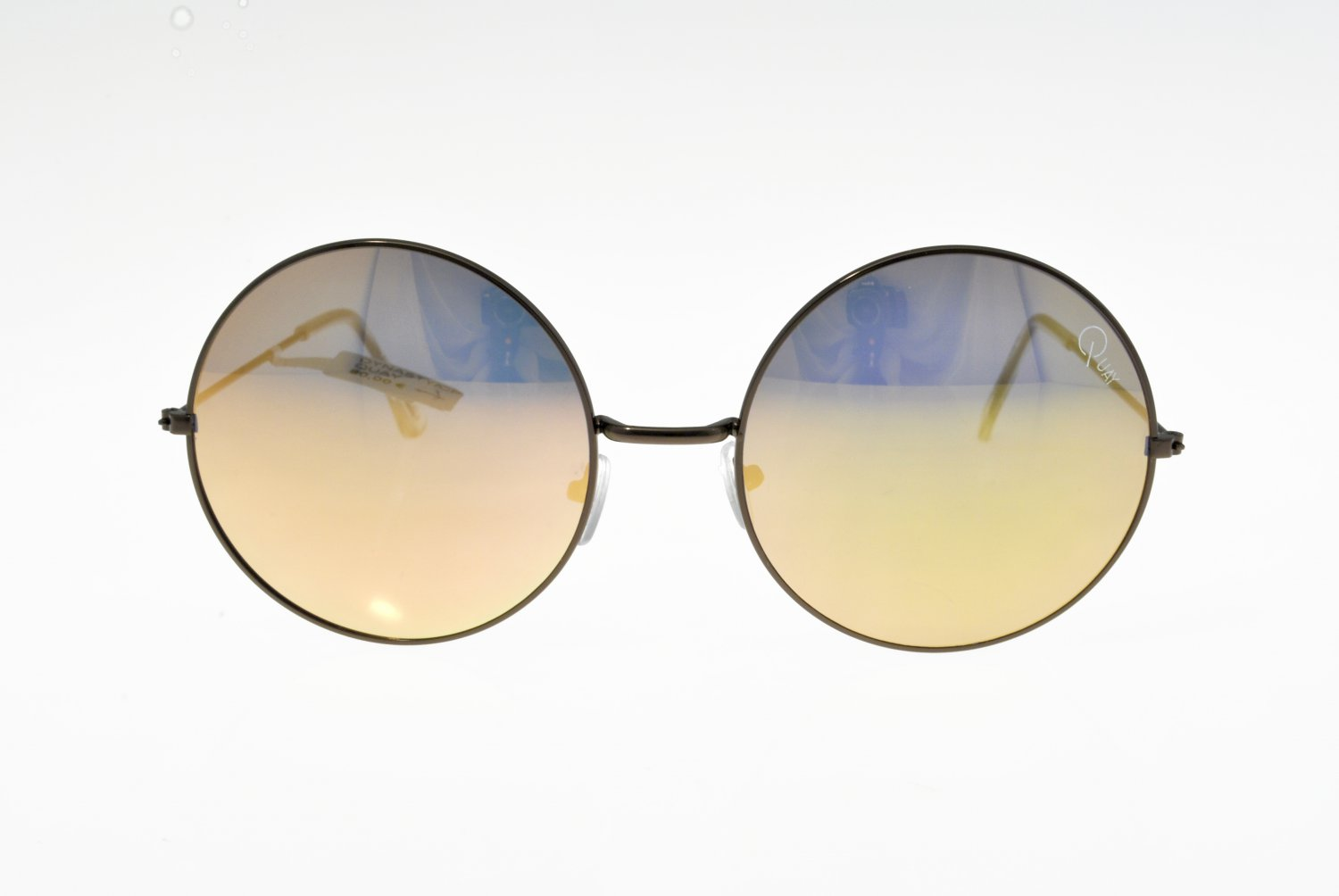 Sunglasses Quay DYNASTY CPR/GOLD Women Black Round Gold Mirrored