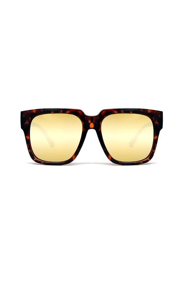 Sunglasses Quay ON THE PROWL TORT/GOLD Women Tortoise Square Gold Mirrored