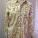 Eddie Bauer Women's Button Down Size Medium Brown Floral Cotton Long Sleeve