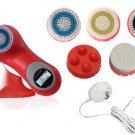 Sonic Facial Skin Care Cleansing Brush System plus pro mia - Red