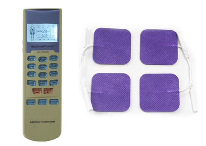 YK15 HealthmateForever TENS Unit Electrical Muscle Stimulator Green + 4 Purple Square Pads