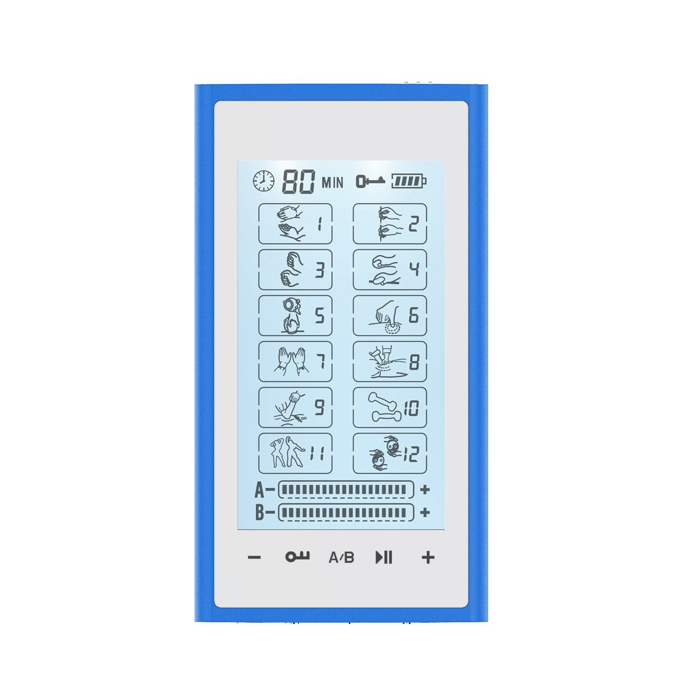 T12AB2 HealthmateForever TENS Unit Electrical Muscle Stimulator Blue in White + 4in1 Leads Wire and