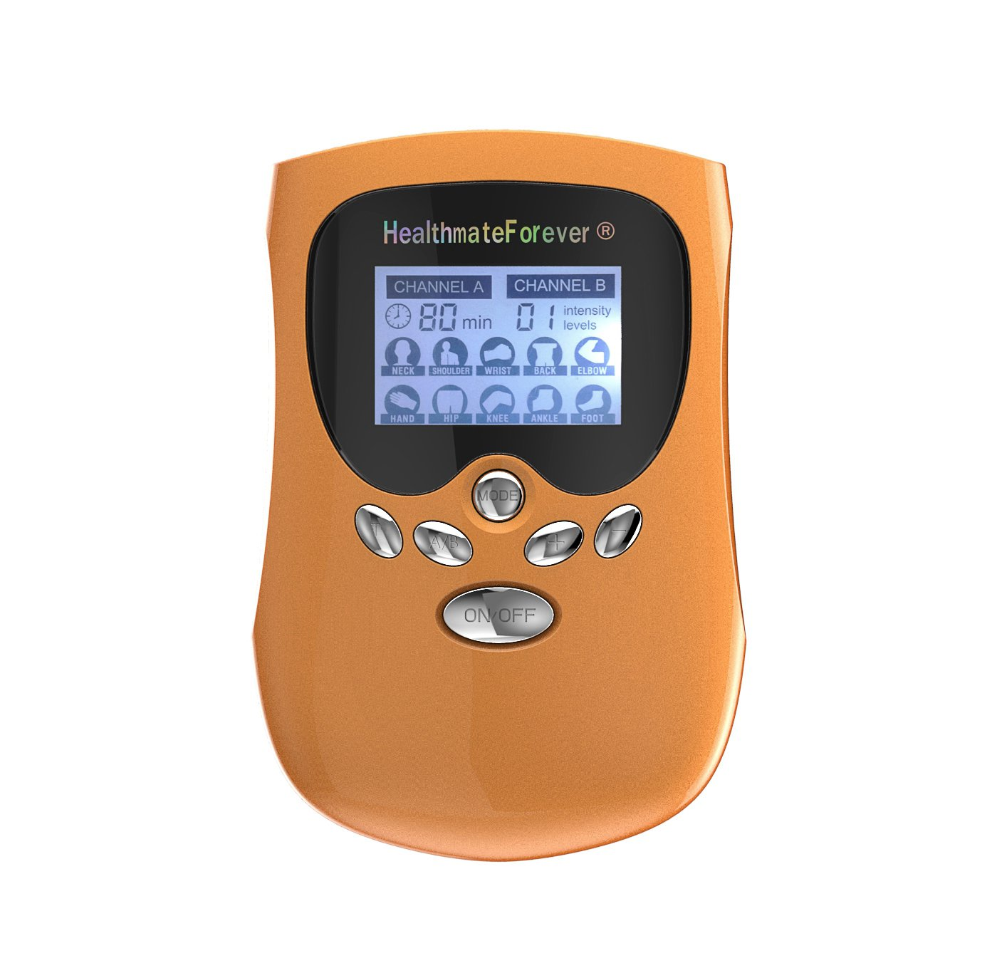 PM10AB HealthmateForever TENS Unit Electrical Muscle Stimulator Orange + 10 Pairs of Pads