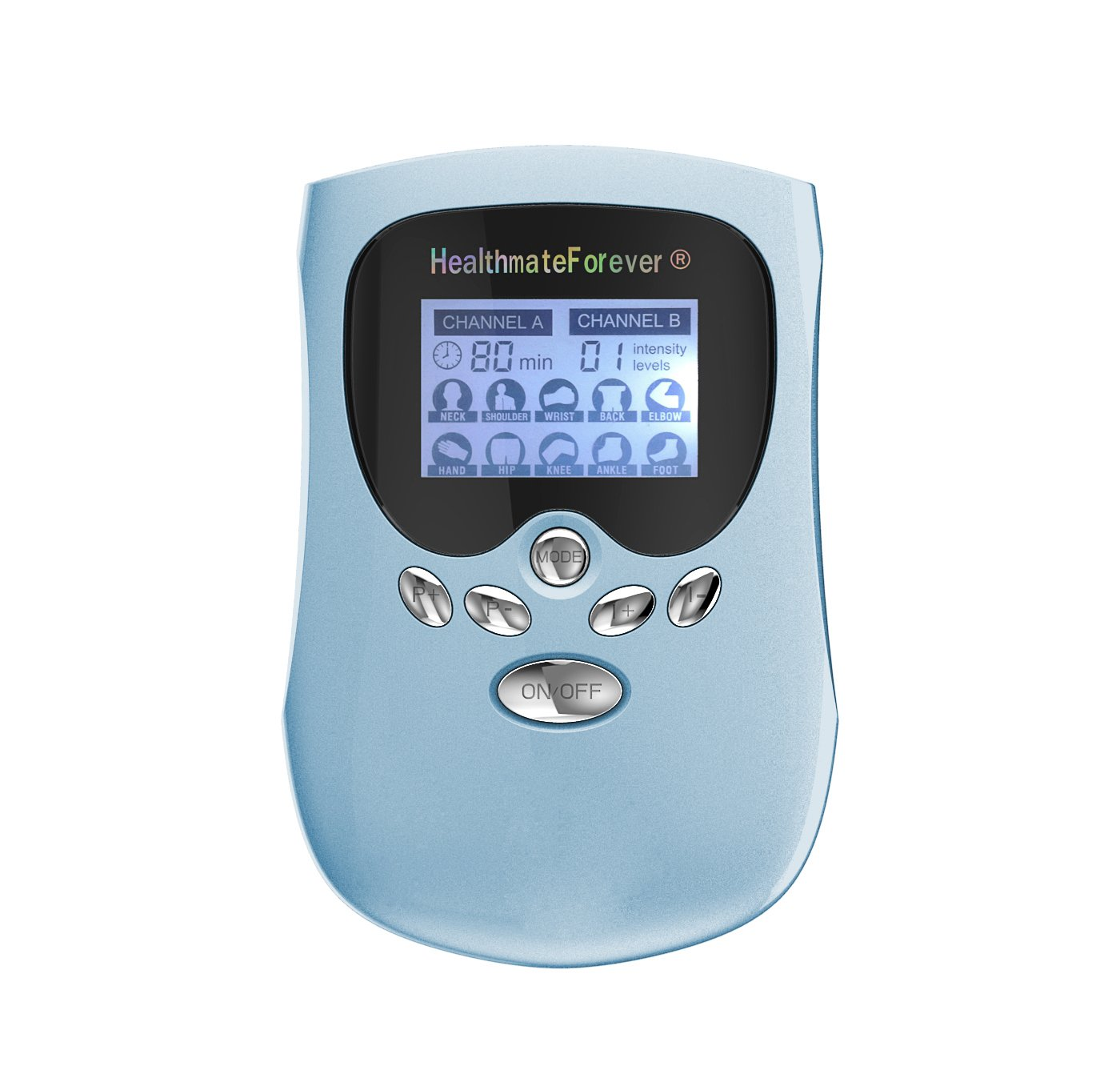 PM10AB HealthmateForever TENS Unit Electrical Muscle Stimulator Blue + 5 Pairs of Pads