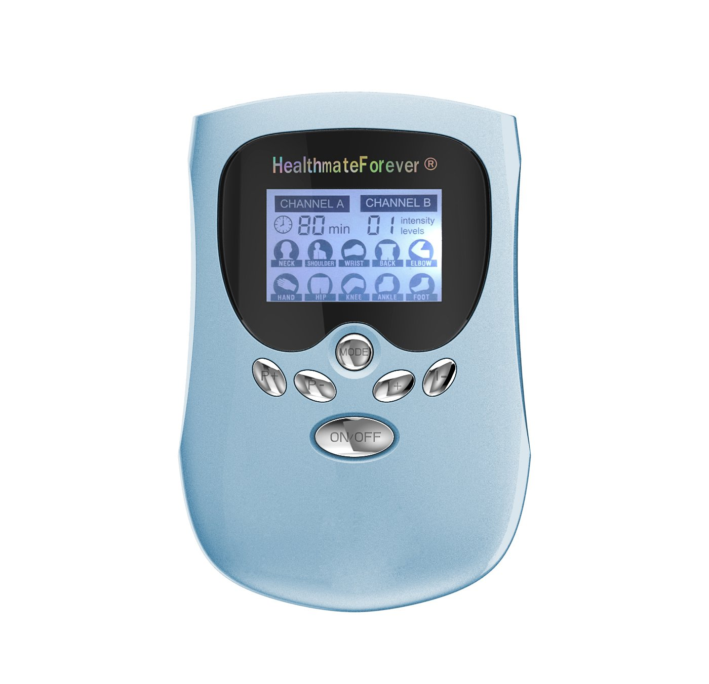 PM10AB HealthmateForever TENS Unit Electrical Muscle Stimulator Blue + 2 Pairs of Pads