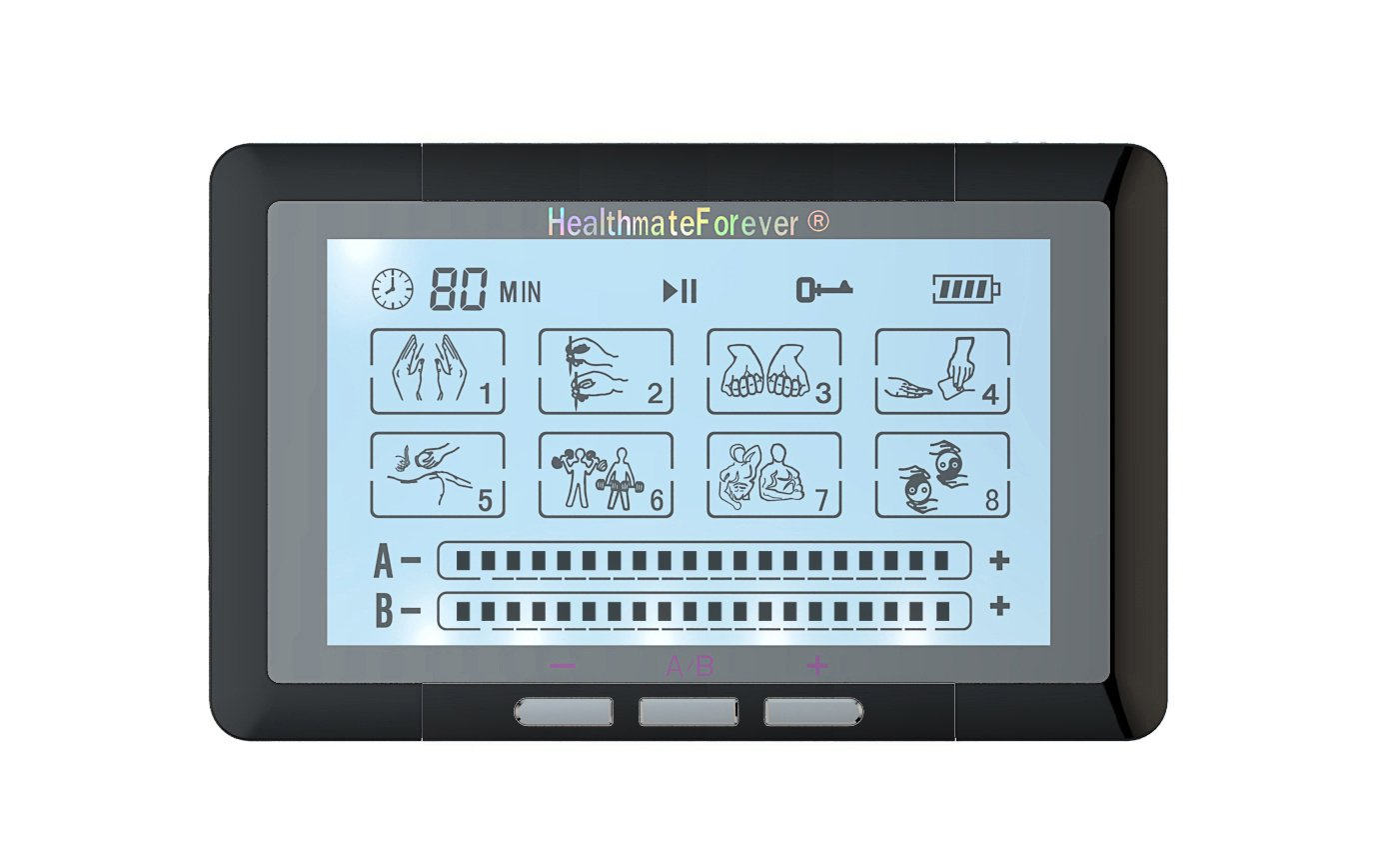 TS8ABH HealthmateForever TENS Unit Electrical Muscle Stimulator Black + 4in1 Leads Wire and 1 Pair o