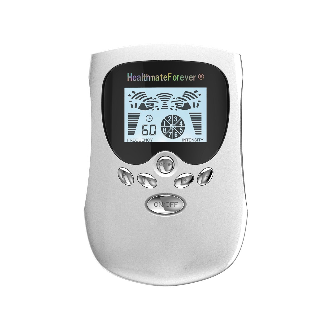 PM8 HealthmateForever TENS Unit Electrical Muscle Stimulator Silver + 5 Pairs of Pads