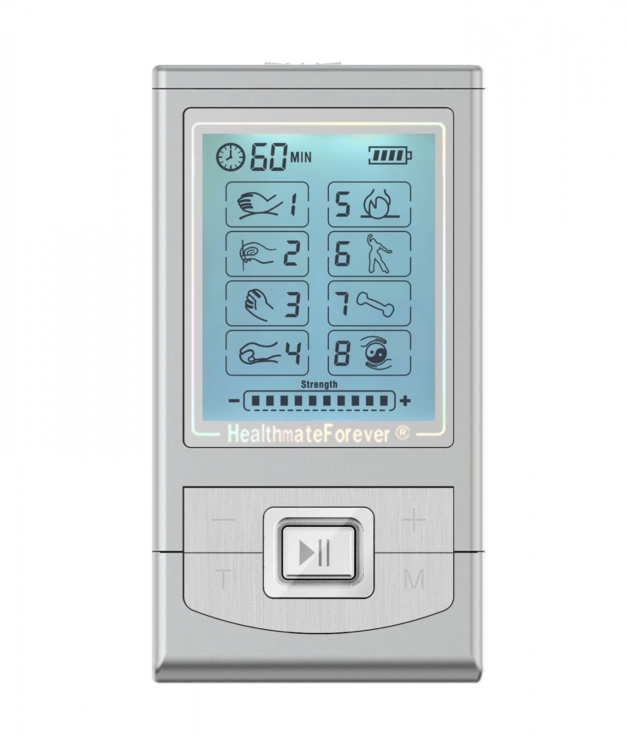 NK8GL HealthmateForever TENS Unit Electrical Muscle Stimulator Silver + 4in1 Leads Wire and 1 Pair o