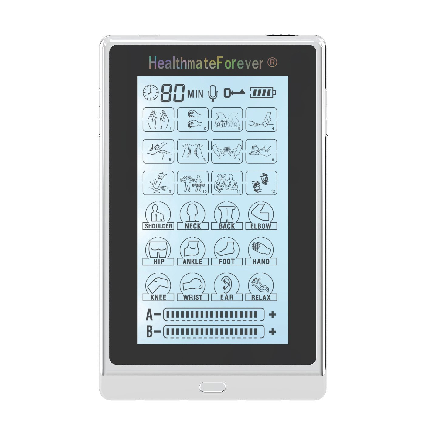 T24AB3 HealthmateForever TENS Unit Electrical Muscle Stimulator Silver