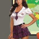 Stretch Satin School Girl Costume