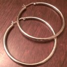 "1.85"" MEDIUM LARGE STERLING SILVER POLISHED HOOP EARRINGS 3x50mm  NWT"