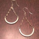 ITALIAN MADE 10K YELLOW GOLD CHAIN AND HALF MOON DROP/DANGLE EARRINGS