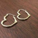 NEW 10K GOLD HEART SHAPED HOOP EARRINGS  POLISHED HOLLOW TUBE HOOPS (3x22mm)