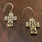 FILIGREE CROSS DROP/DANGLE EARRINGS (GOLD OVER STERLING SILVER) - SHEPHERD HOOK
