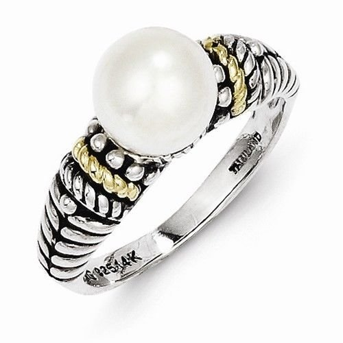 ANTIQUED STERLING SILVER & 14K GOLD 8mm FRESHWATER PEARL RING -  SIZE 6