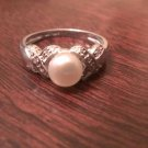 STERLING SILVER 6MM FRESHWATER WHITE PEARL RING -  SIZE 6